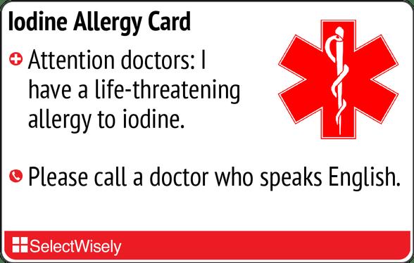 iodine allergy translation card | drug allergies | selectwisely, Skeleton