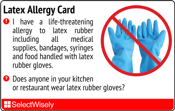 Latex Allergy Translation Card | Skin Contact Allergies