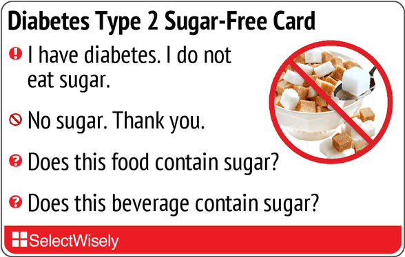 2 Selectwisely Sugar-free Diabetes Card Translation Type