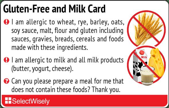 Gluten Free And Milk Card