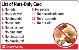 Nuts And Sesame Allergy Translation Card Sesame Allergies Food