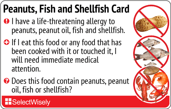 Front english for Allergic to fish